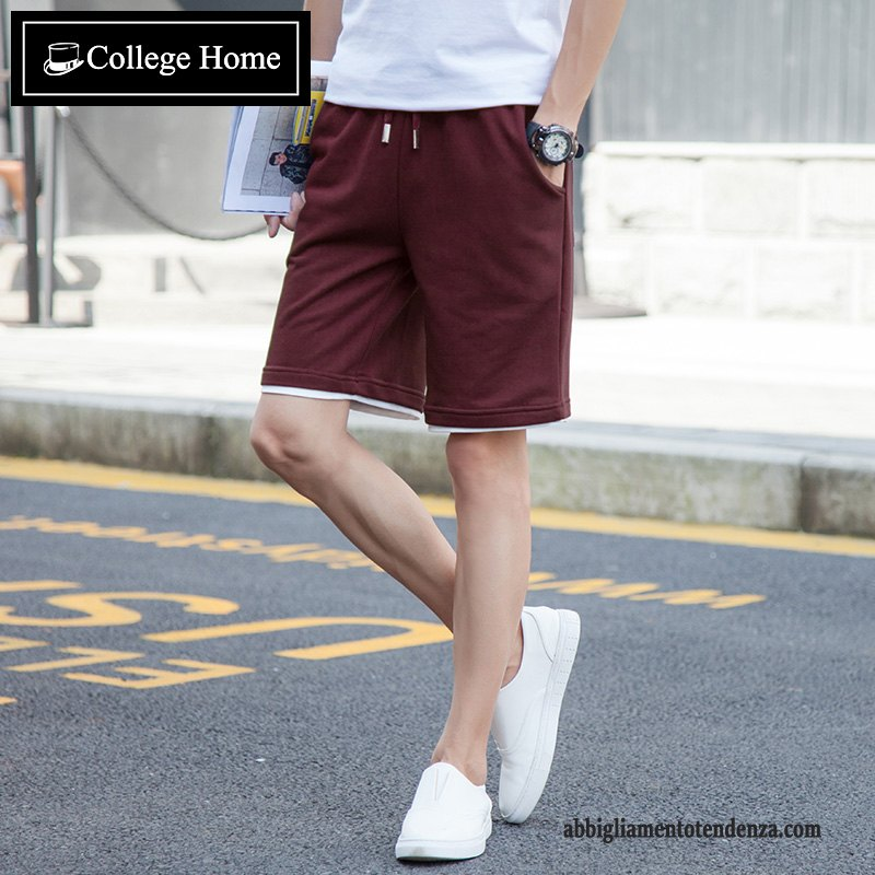Shorts Pantaloncini Uomo Tendenza Pantaloni Casual Running Sportivo Estate Larghi Bordeaux Sabbia