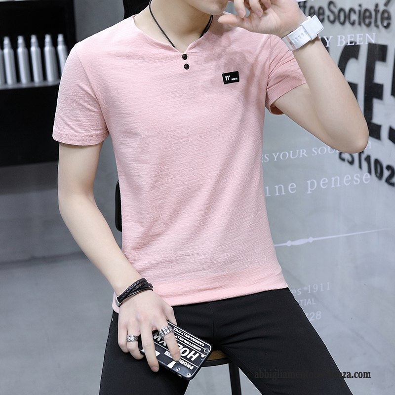 T-shirt Uomo Estate Slim Fit Manica Corta Casual Maglietta Tendenza Rosa