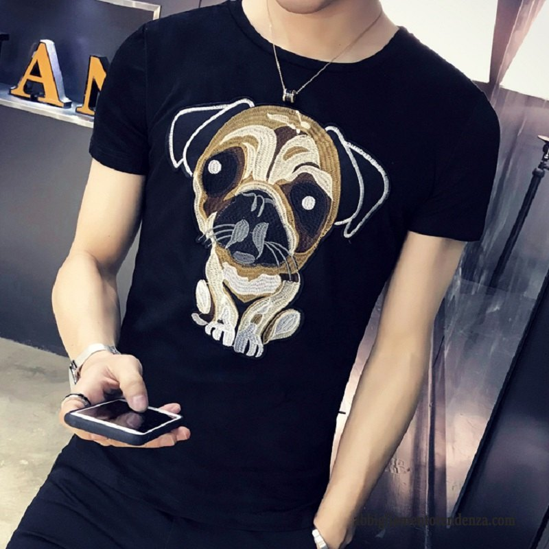 T-shirt Uomo Tendenza 2018 Slim Fit Bello Manica Corta Maschio Nero